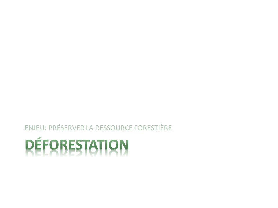 Une fois quil y a eu déboisement, la détérioration de la forêt est permanente.