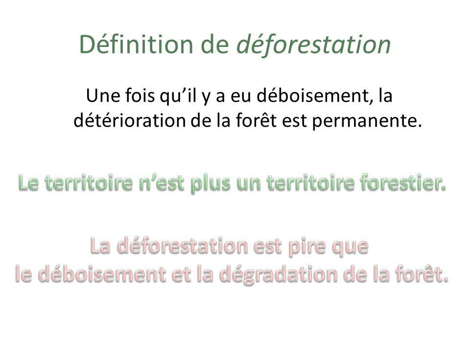 Exemples de déforestation Le territoire forestier est remplacé… … par un territoire agricole; … par un territoire urbain; … par un territoire industriel; … par un territoire énergétique.