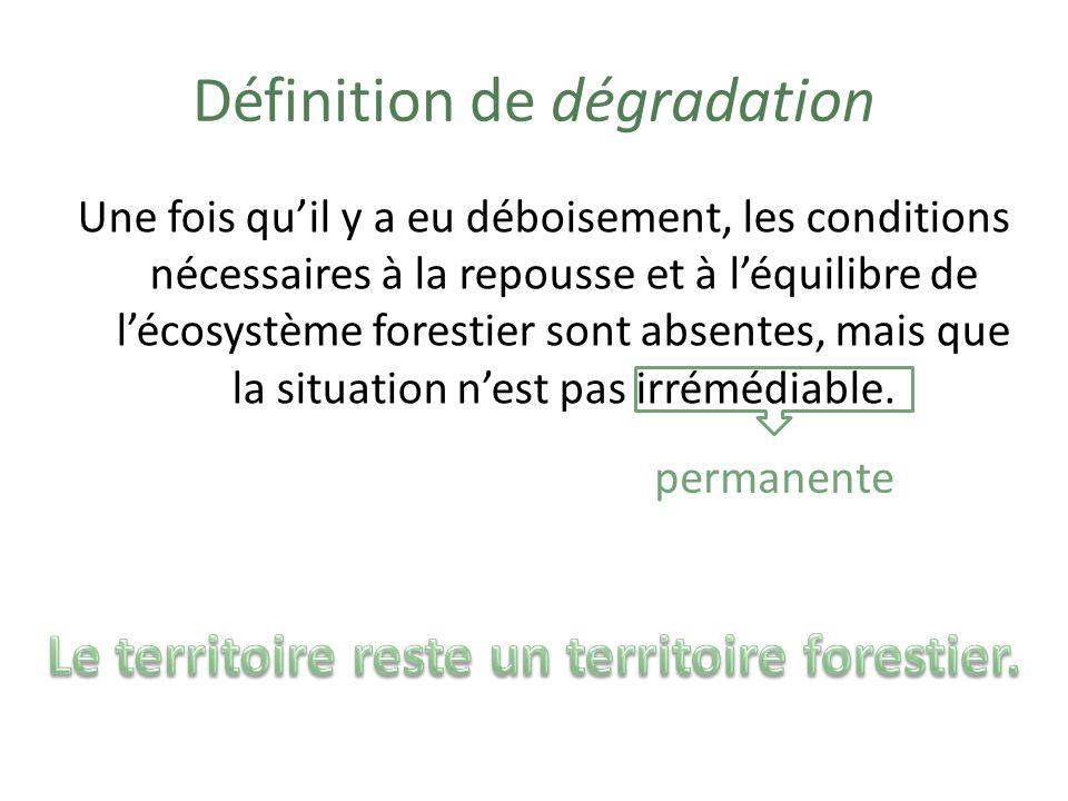 Exemples de dégradation Quelques arbres sont coupés. Le déboisement de la forêt est partiel.