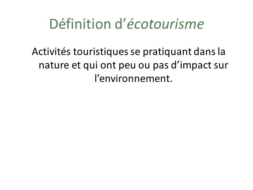 Exemples dactivités décotourisme Observation de la nature Canot / Kayak Randonnée en forêt (à pied / à raquette) Camping sauvage