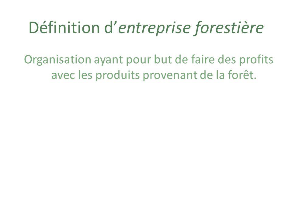 Exemples dentreprises forestières Scieries (usine où on coupe les troncs darbres en planches) Papeterie (usine où on fabrique du papier)