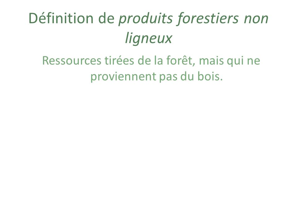 Exemples de produits forestiers non ligneux Fruits Fibres (ex.