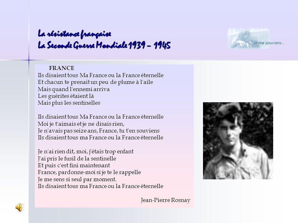 FRANCE Ils disaient tous Ma France ou la France éternelle Et chacun te prenait un peu de plume à l'aile Mais quand l'ennemi arriva Les guérites étaien