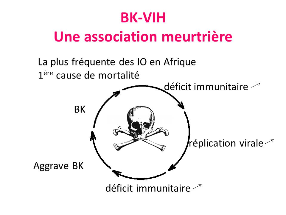 BK-VIH Une association meurtrière BK déficit immunitaire réplication virale déficit immunitaire Aggrave BK La plus fréquente des IO en Afrique 1 ère cause de mortalité