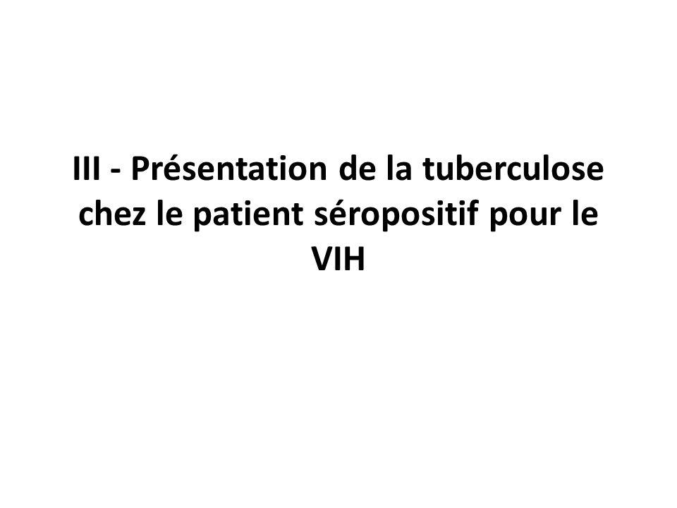 III - Présentation de la tuberculose chez le patient séropositif pour le VIH