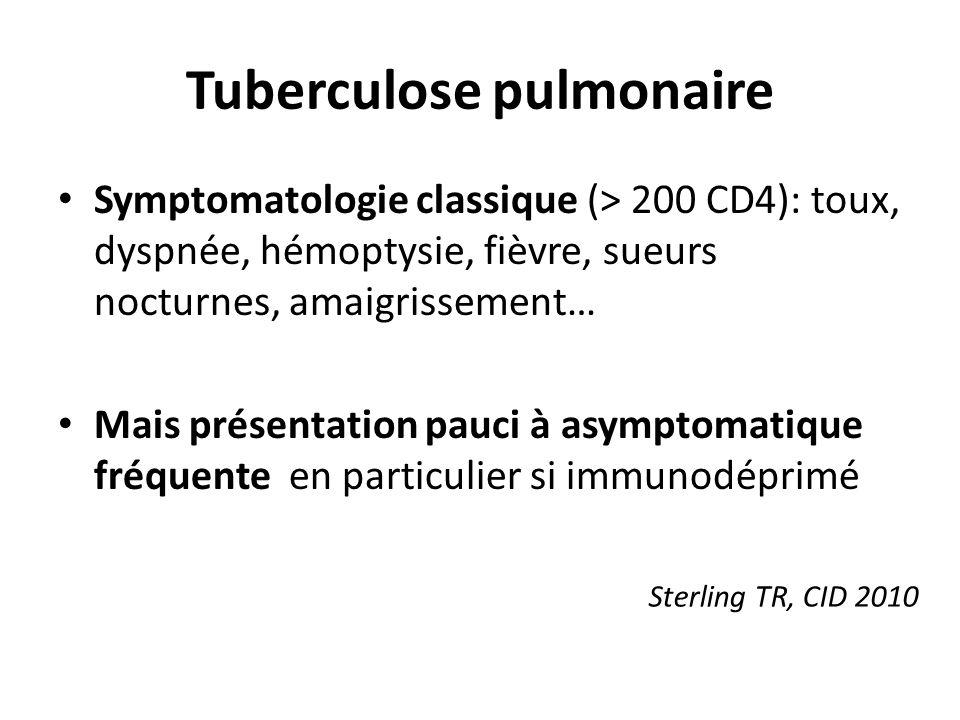 Tuberculose pulmonaire Symptomatologie classique (> 200 CD4): toux, dyspnée, hémoptysie, fièvre, sueurs nocturnes, amaigrissement… Mais présentation pauci à asymptomatique fréquente en particulier si immunodéprimé Sterling TR, CID 2010