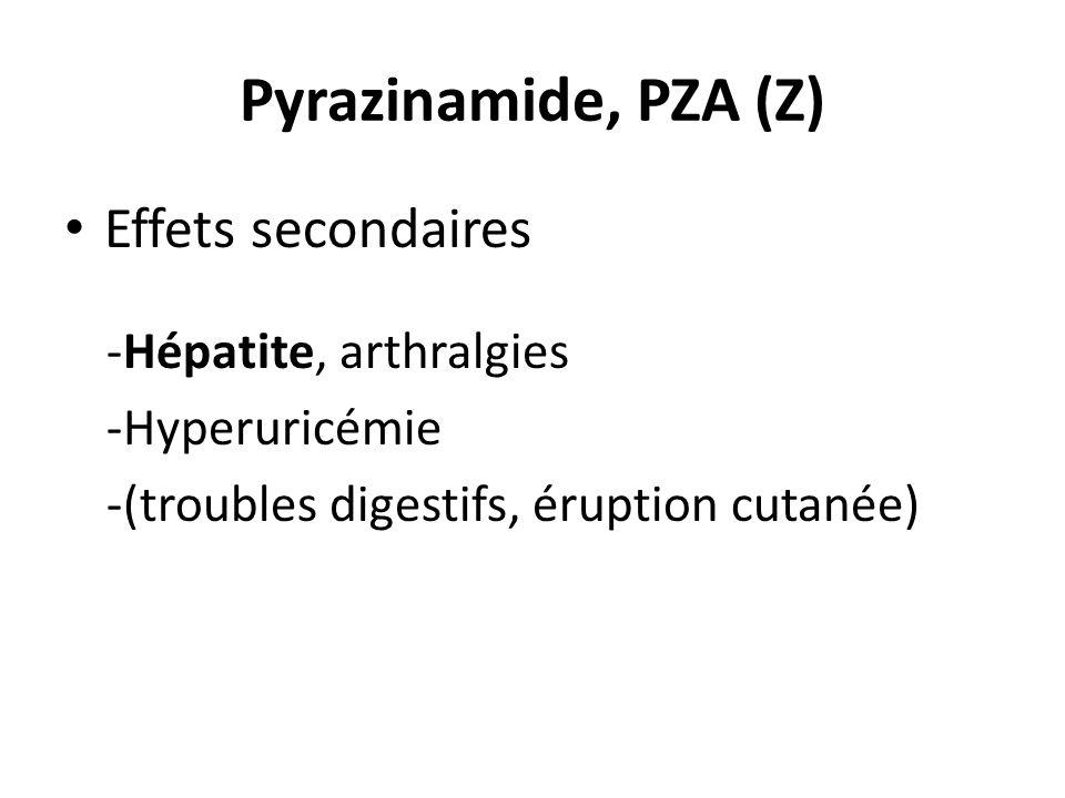Pyrazinamide, PZA (Z) Effets secondaires -Hépatite, arthralgies -Hyperuricémie -(troubles digestifs, éruption cutanée)