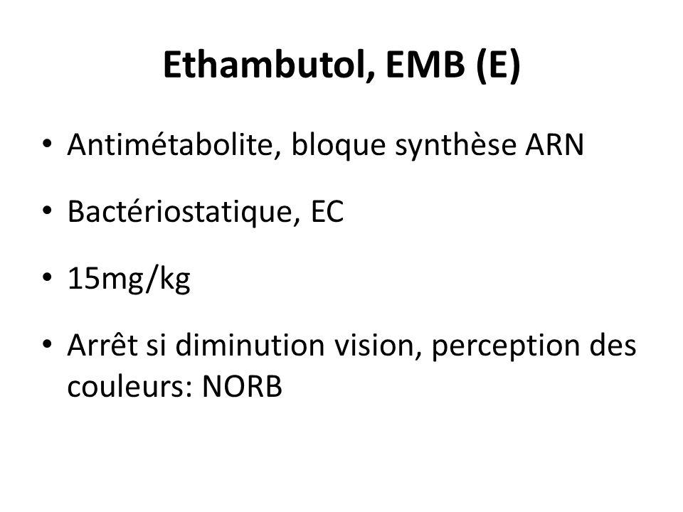 Ethambutol, EMB (E) Antimétabolite, bloque synthèse ARN Bactériostatique, EC 15mg/kg Arrêt si diminution vision, perception des couleurs: NORB
