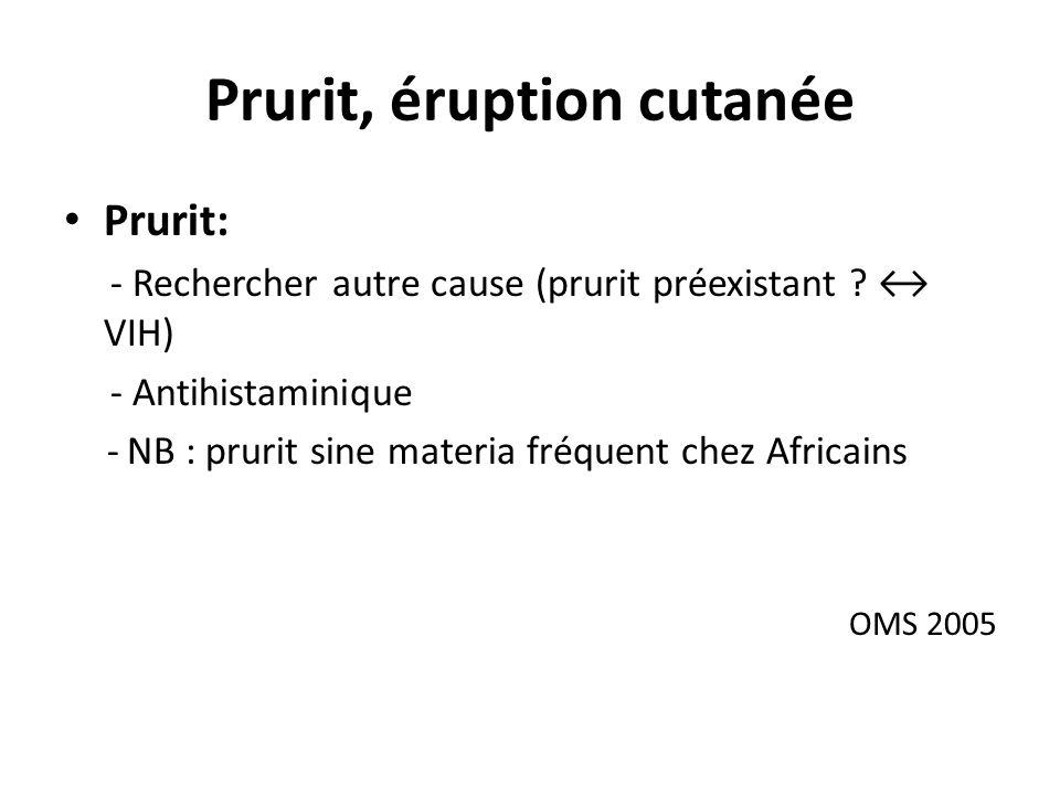 Prurit, éruption cutanée Prurit: - Rechercher autre cause (prurit préexistant .