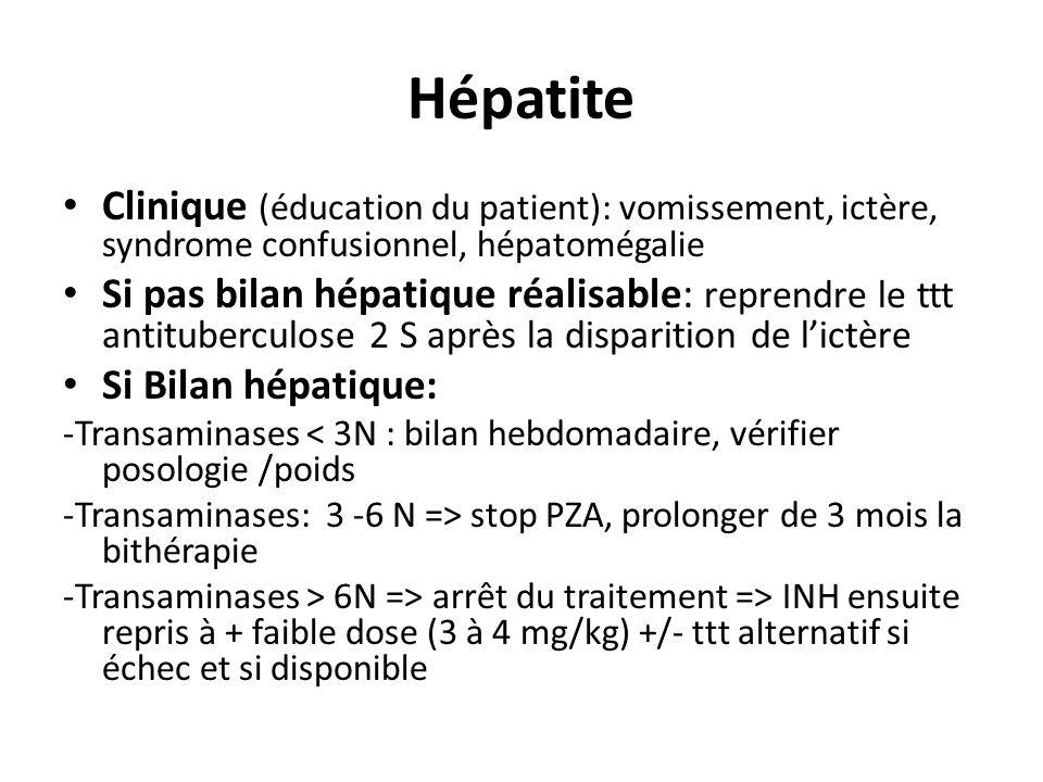 Hépatite Clinique (éducation du patient): vomissement, ictère, syndrome confusionnel, hépatomégalie Si pas bilan hépatique réalisable: reprendre le ttt antituberculose 2 S après la disparition de lictère Si Bilan hépatique: -Transaminases < 3N : bilan hebdomadaire, vérifier posologie /poids -Transaminases: 3 -6 N => stop PZA, prolonger de 3 mois la bithérapie -Transaminases > 6N => arrêt du traitement => INH ensuite repris à + faible dose (3 à 4 mg/kg) +/- ttt alternatif si échec et si disponible