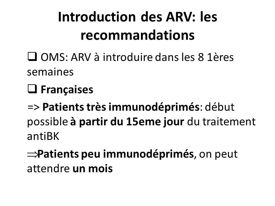 Introduction des ARV: les recommandations OMS: ARV à introduire dans les 8 1ères semaines Françaises => Patients très immunodéprimés: début possible à partir du 15eme jour du traitement antiBK Patients peu immunodéprimés, on peut attendre un mois