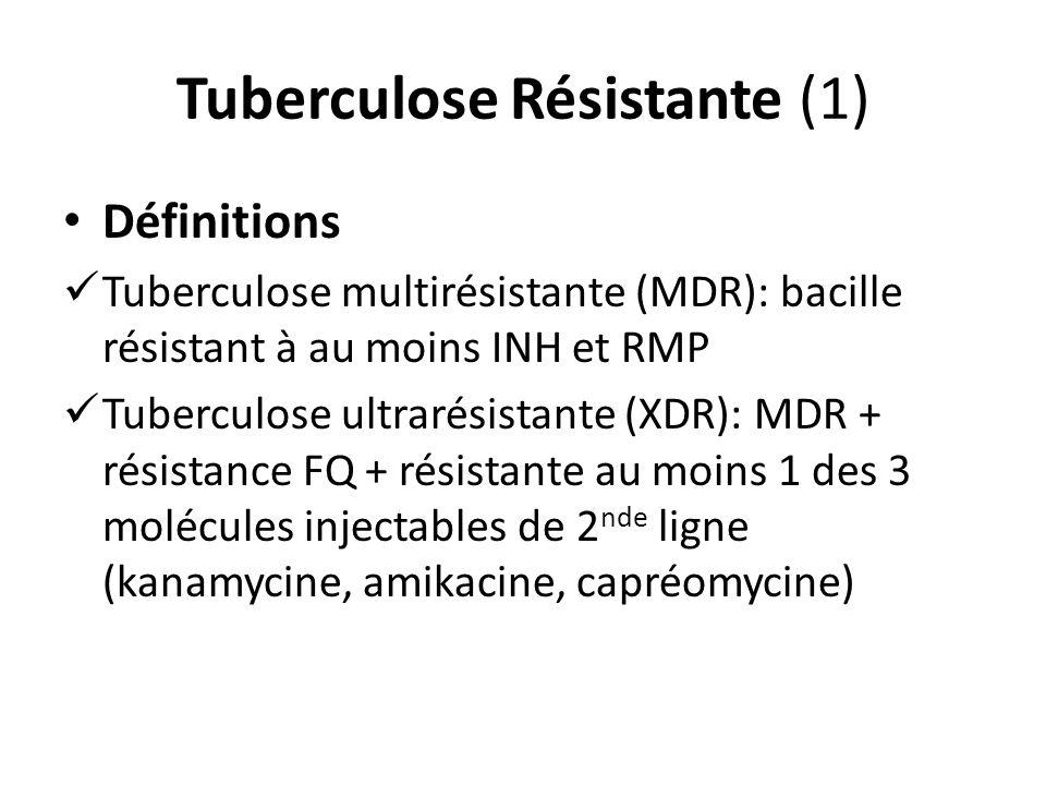 Tuberculose Résistante (1) Définitions Tuberculose multirésistante (MDR): bacille résistant à au moins INH et RMP Tuberculose ultrarésistante (XDR): MDR + résistance FQ + résistante au moins 1 des 3 molécules injectables de 2 nde ligne (kanamycine, amikacine, capréomycine)