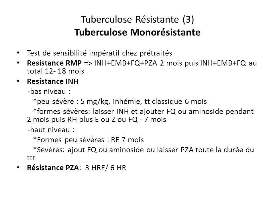 Tuberculose Résistante (3) Tuberculose Monorésistante Test de sensibilité impératif chez prétraités Resistance RMP => INH+EMB+FQ+PZA 2 mois puis INH+EMB+FQ au total 12- 18 mois Resistance INH -bas niveau : *peu sévère : 5 mg/kg, inhémie, tt classique 6 mois *formes sévères: laisser INH et ajouter FQ ou aminoside pendant 2 mois puis RH plus E ou Z ou FQ - 7 mois -haut niveau : *Formes peu sévères : RE 7 mois *Sévères: ajout FQ ou aminoside ou laisser PZA toute la durée du ttt Résistance PZA: 3 HRE/ 6 HR