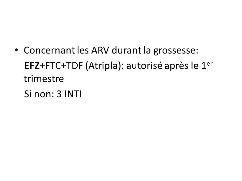Concernant les ARV durant la grossesse: EFZ+FTC+TDF (Atripla): autorisé après le 1 er trimestre Si non: 3 INTI
