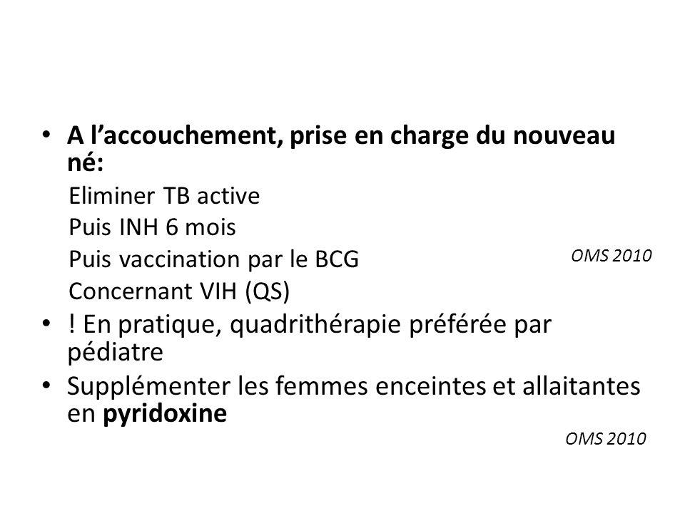 A laccouchement, prise en charge du nouveau né: Eliminer TB active Puis INH 6 mois Puis vaccination par le BCG Concernant VIH (QS) .