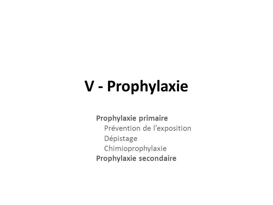 V - Prophylaxie Prophylaxie primaire Prévention de lexposition Dépistage Chimioprophylaxie Prophylaxie secondaire