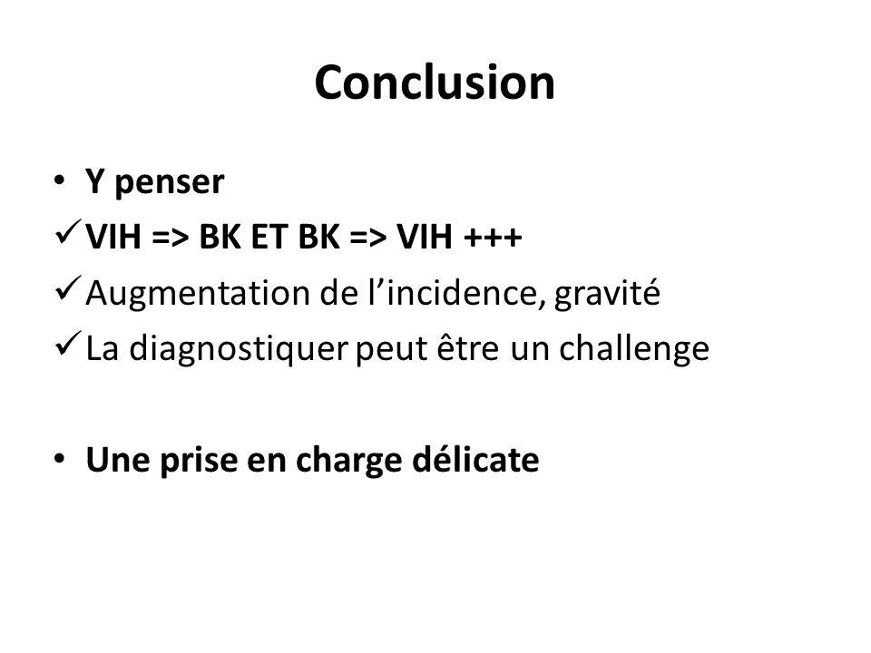 Conclusion Y penser VIH => BK ET BK => VIH +++ Augmentation de lincidence, gravité La diagnostiquer peut être un challenge Une prise en charge délicate
