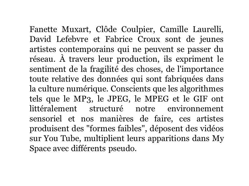 Fanette Muxart, Clôde Coulpier, Camille Laurelli, David Lefebvre et Fabrice Croux sont de jeunes artistes contemporains qui ne peuvent se passer du réseau.