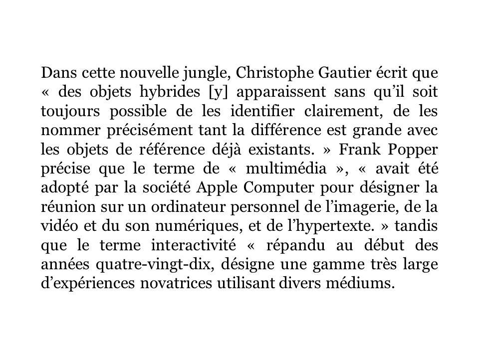 Dans cette nouvelle jungle, Christophe Gautier écrit que « des objets hybrides [y] apparaissent sans quil soit toujours possible de les identifier clairement, de les nommer précisément tant la différence est grande avec les objets de référence déjà existants.