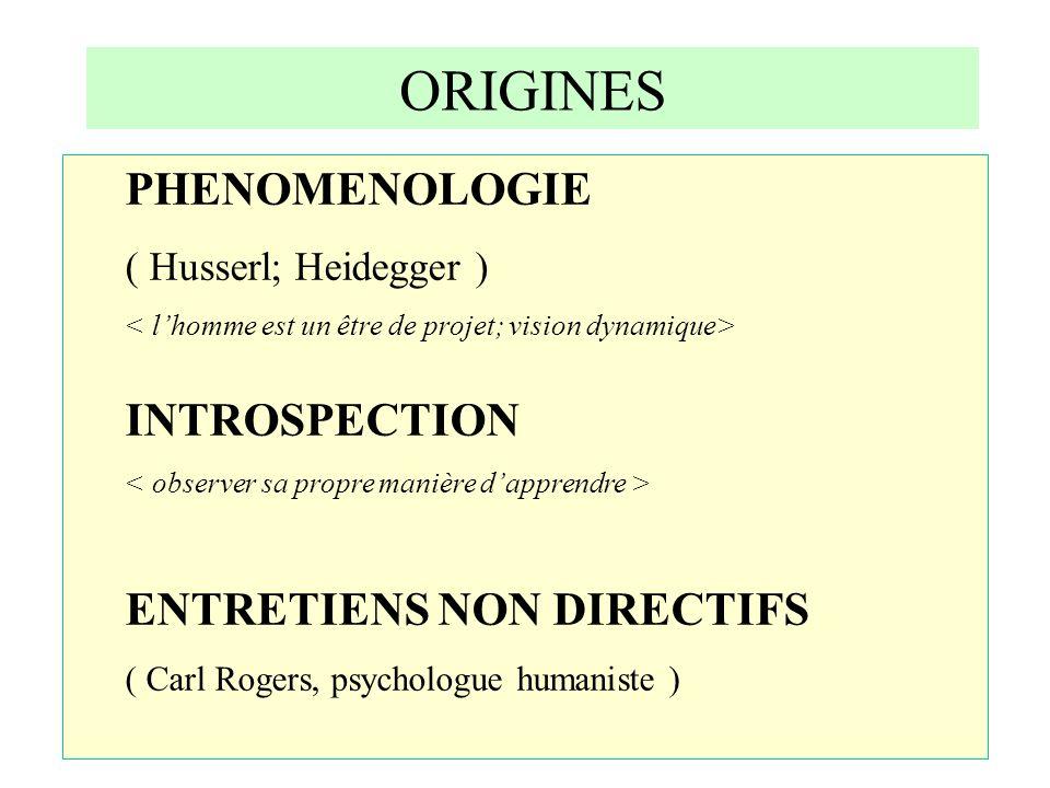 ORIGINES PHENOMENOLOGIE ( Husserl; Heidegger ) INTROSPECTION ENTRETIENS NON DIRECTIFS ( Carl Rogers, psychologue humaniste )