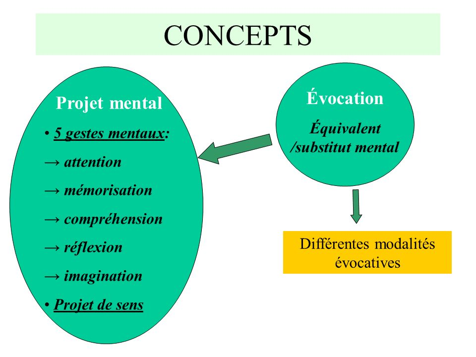 CONCEPTS Projet mental 5 gestes mentaux: attention mémorisation compréhension réflexion imagination Projet de sens Évocation Équivalent /substitut mental Différentes modalités évocatives