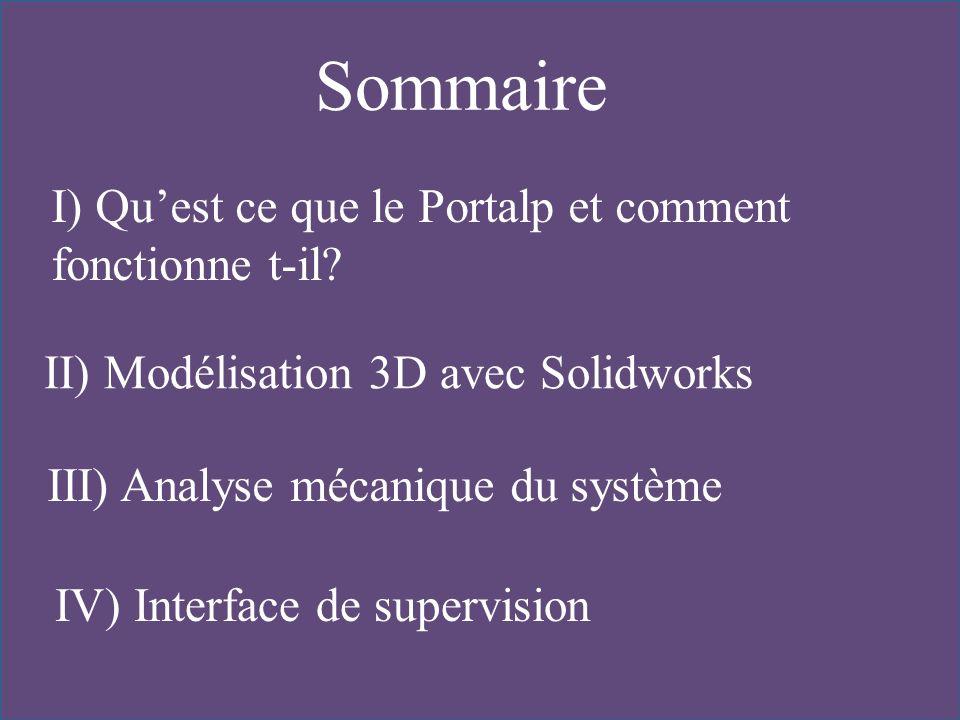 Sommaire I) Quest ce que le Portalp et comment fonctionne t-il? II) Modélisation 3D avec Solidworks III) Analyse mécanique du système IV) Interface de