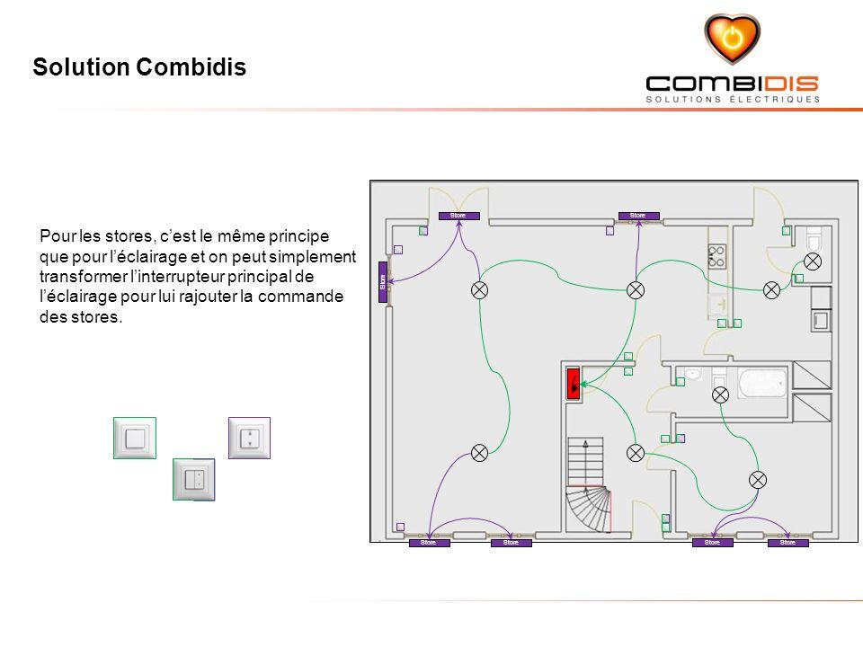 Solution Combidis Store Pour les stores, cest le même principe que pour léclairage et on peut simplement transformer linterrupteur principal de léclairage pour lui rajouter la commande des stores.