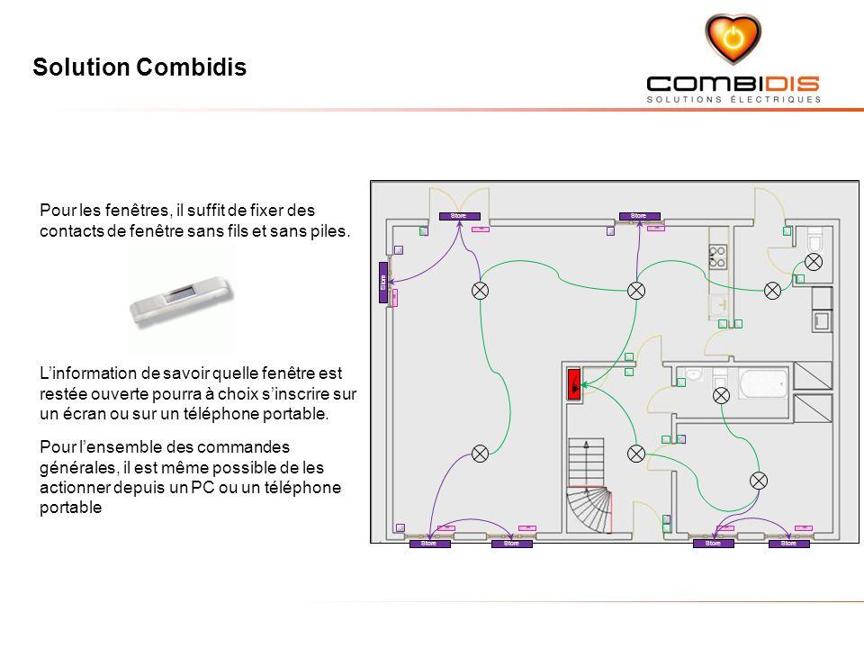 Solution Combidis Store Pour les fenêtres, il suffit de fixer des contacts de fenêtre sans fils et sans piles.