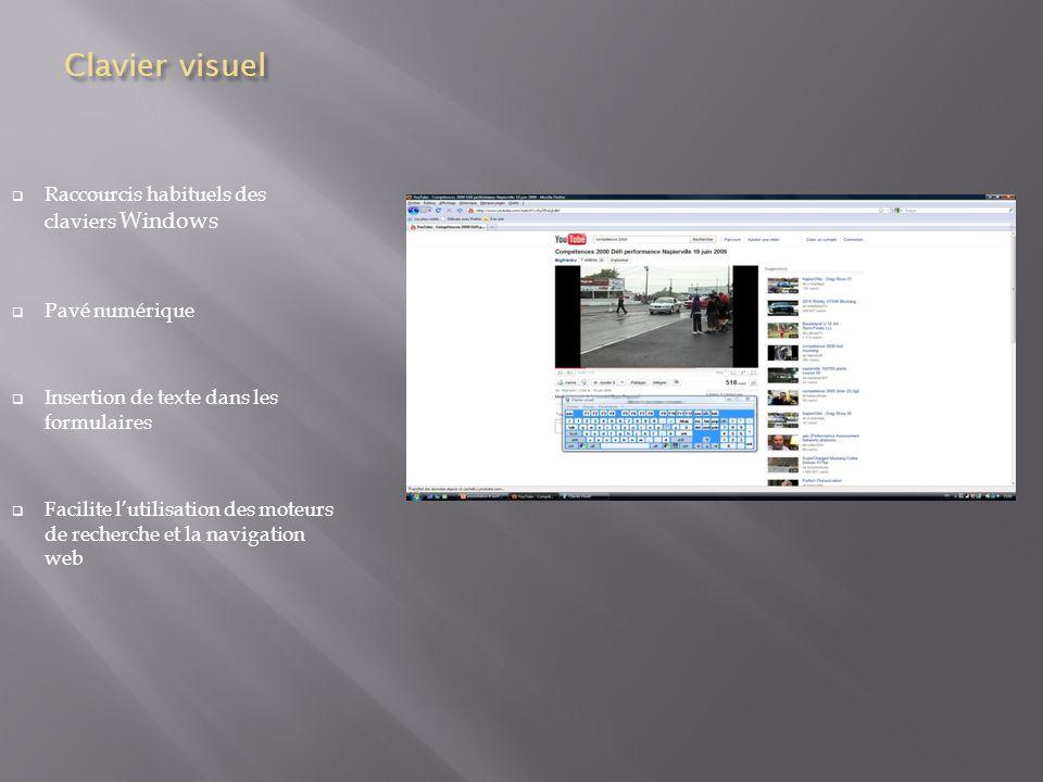 Clavier visuel Raccourcis habituels des claviers Windows Pavé numérique Insertion de texte dans les formulaires Facilite lutilisation des moteurs de recherche et la navigation web