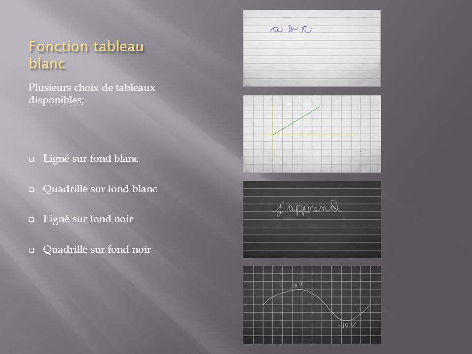 Menu intuitif Sélection de la taille du trait Sélection de choix de tableau Fonction de capture décran et accès rapide aux écrans capturés Sélection de la couleur du crayon Sélection de la forme désirée Fonction deffaceur en partie ou en entier