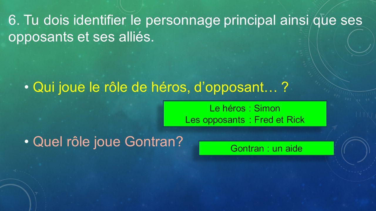 6. Tu dois identifier le personnage principal ainsi que ses opposants et ses alliés. Qui joue le rôle de héros, dopposant… ? Quel rôle joue Gontran? L