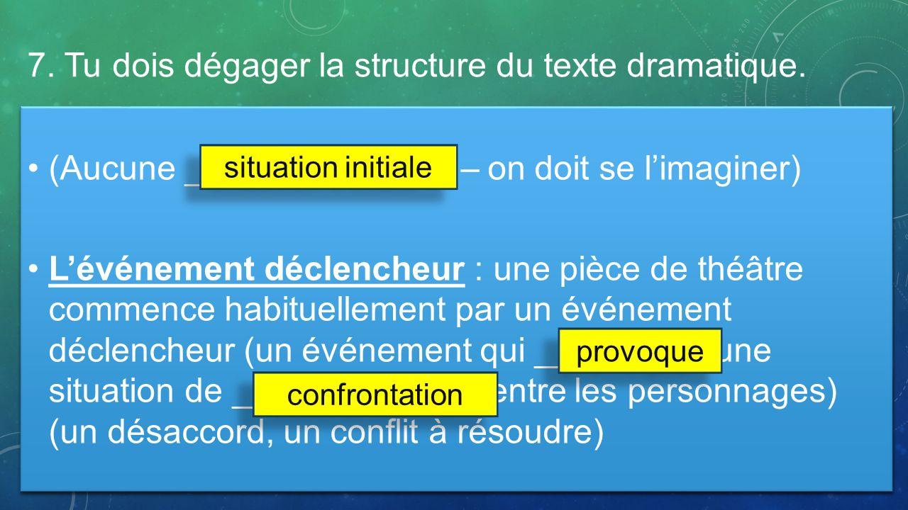 (Aucune ______________ – on doit se limaginer) Lévénement déclencheur : une pièce de théâtre commence habituellement par un événement déclencheur (un