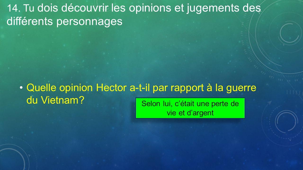14. Tu dois découvrir les opinions et jugements des différents personnages Quelle opinion Hector a-t-il par rapport à la guerre du Vietnam? Selon lui,