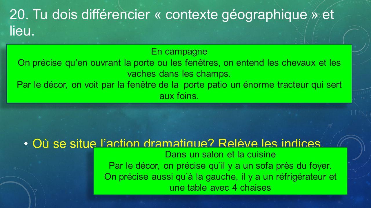20. Tu dois différencier « contexte géographique » et lieu. Quel est le contexte géographique de lacte? Relève des indices. Où se situe laction dramat