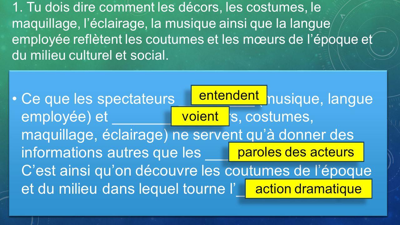 1. Tu dois dire comment les décors, les costumes, le maquillage, léclairage, la musique ainsi que la langue employée reflètent les coutumes et les mœu