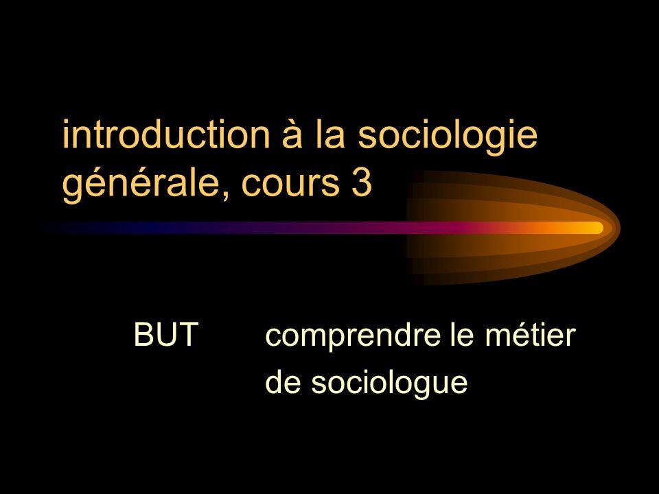 introduction à la sociologie générale, cours 3 BUT comprendre le métier de sociologue