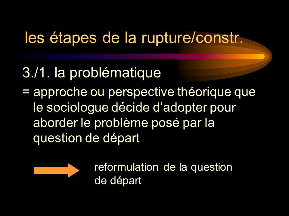 les étapes de la rupture/constr. 3./1. la problématique = approche ou perspective théorique que le sociologue décide dadopter pour aborder le problème