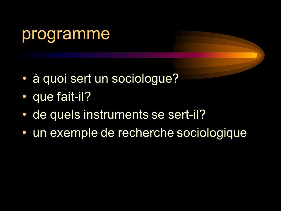 programme à quoi sert un sociologue? que fait-il? de quels instruments se sert-il? un exemple de recherche sociologique sociologique