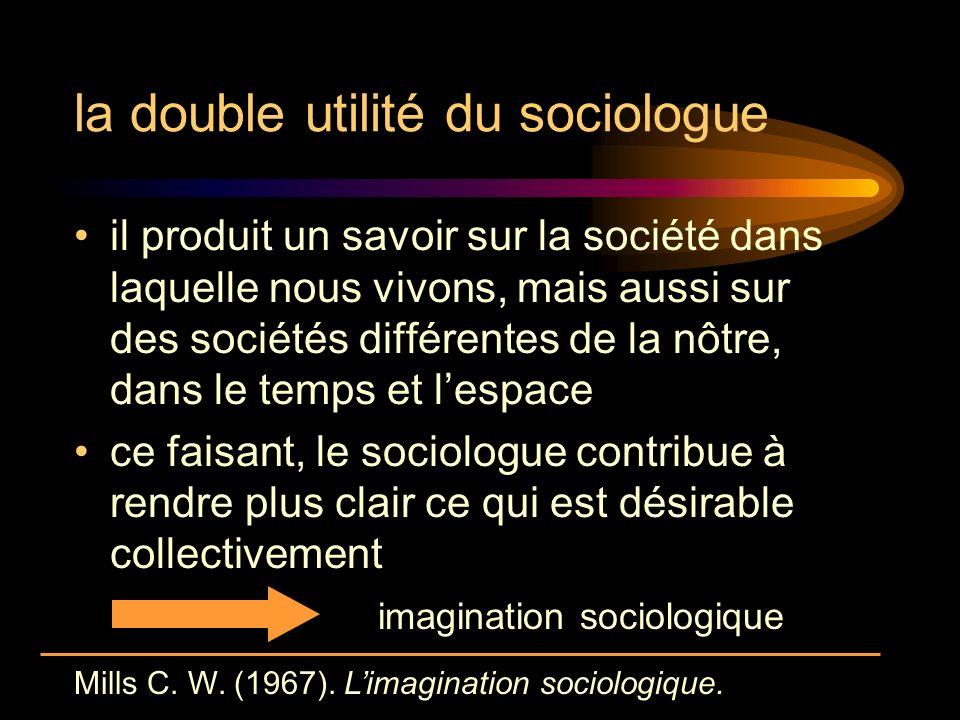 la double utilité du sociologue il produit un savoir sur la société dans laquelle nous vivons, mais aussi sur des sociétés différentes de la nôtre, dans le temps et lespace ce faisant, le sociologue contribue à rendre plus clair ce qui est désirable collectivement imagination sociologique Mills C.