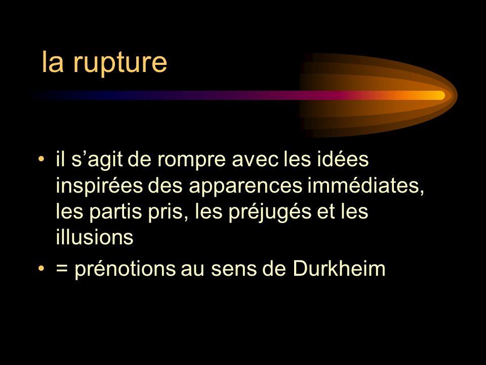 la rupture il sagit de rompre avec les idées inspirées des apparences immédiates, les partis pris, les préjugés et les illusions = prénotions au sens de Durkheim