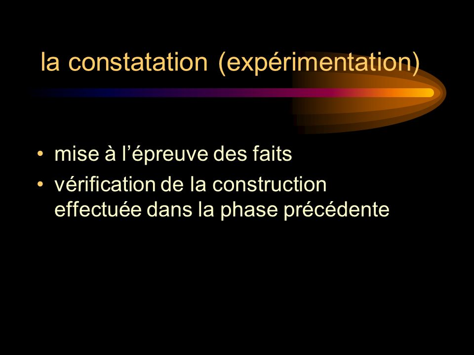 la constatation (expérimentation) mise à lépreuve des faits vérification de la construction effectuée dans la phase précédente