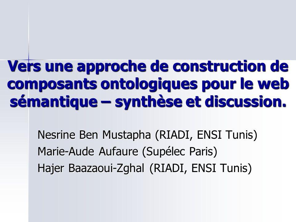 Vers une approche de construction de composants ontologiques pour le web sémantique – synthèse et discussion. Nesrine Ben Mustapha (RIADI, ENSI Tunis)