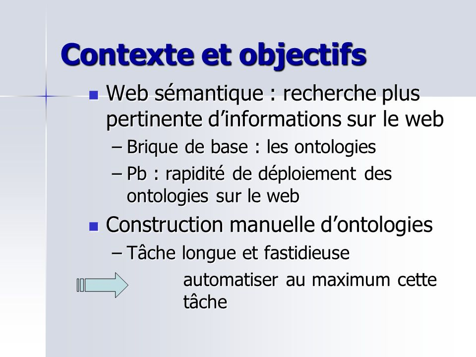 La construction de lontologie de domaine Initialisation Itération 1 Etape AEtape B Itération n Etape AEtape B Auto Apprentissage Dontologie Apprentissage incrémental et itératif en se basant sur des techniques linguistiques et statistiques En labsence des autres composants ontologiques Les axiomes de lontologie de domaine spécifiant des règles dextraction de relations et les axiomes de lontologie des structures Web permettent un auto apprentissage de lontologie de domaine