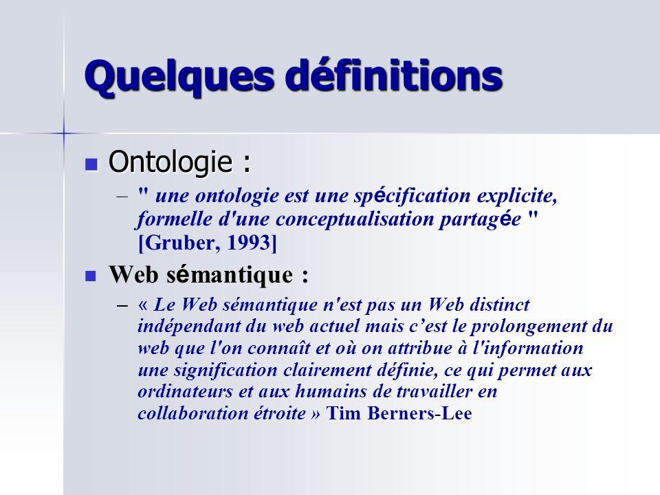 Quelques définitions Ontologie : Ontologie : – – une ontologie est une sp é cification explicite, formelle d une conceptualisation partag é e [Gruber, 1993] Web s é mantique : – –« Le Web sémantique n est pas un Web distinct indépendant du web actuel mais cest le prolongement du web que l on connaît et où on attribue à l information une signification clairement définie, ce qui permet aux ordinateurs et aux humains de travailler en collaboration étroite » Tim Berners-Lee