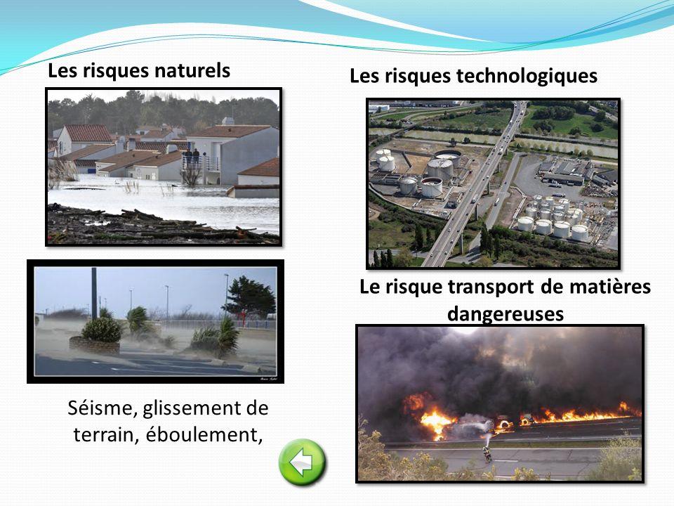 Les risques technologiques Le risque transport de matières dangereuses Les risques naturels Séisme, glissement de terrain, éboulement,