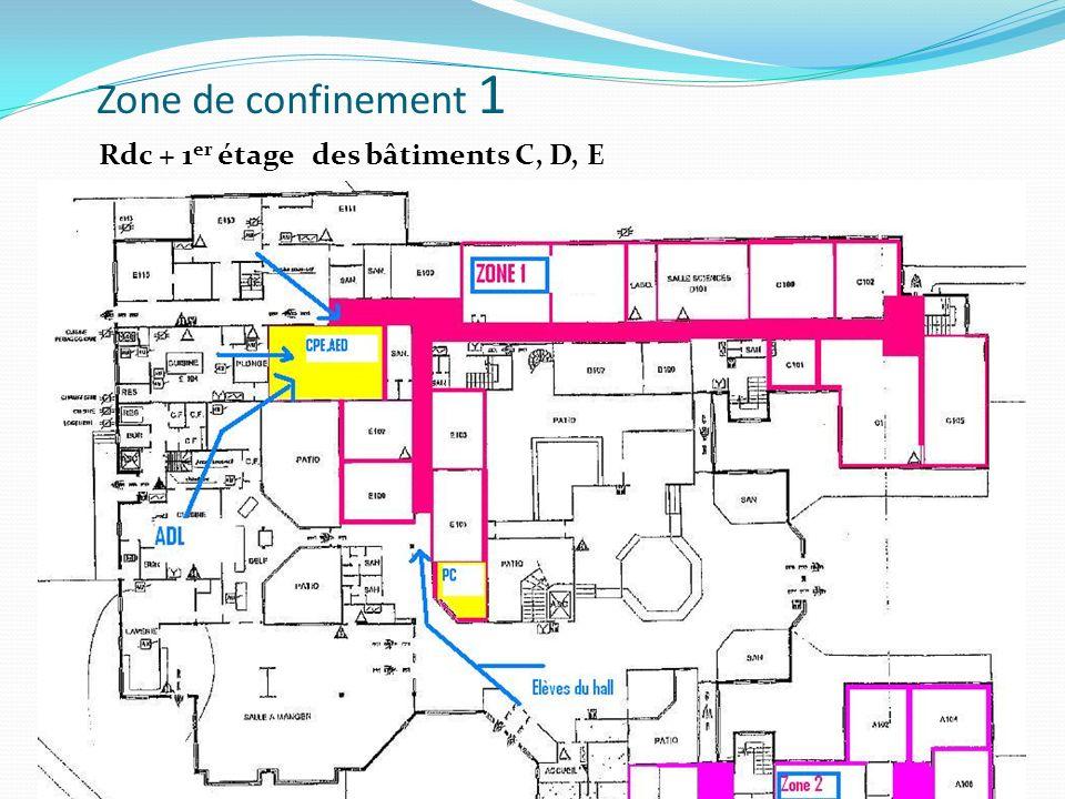Zone de confinement 1 Rdc + 1 er étage des bâtiments C, D, E