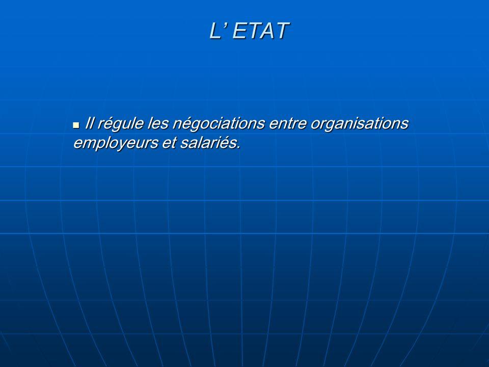 L ETAT Il régule les négociations entre organisations employeurs et salariés. Il régule les négociations entre organisations employeurs et salariés.