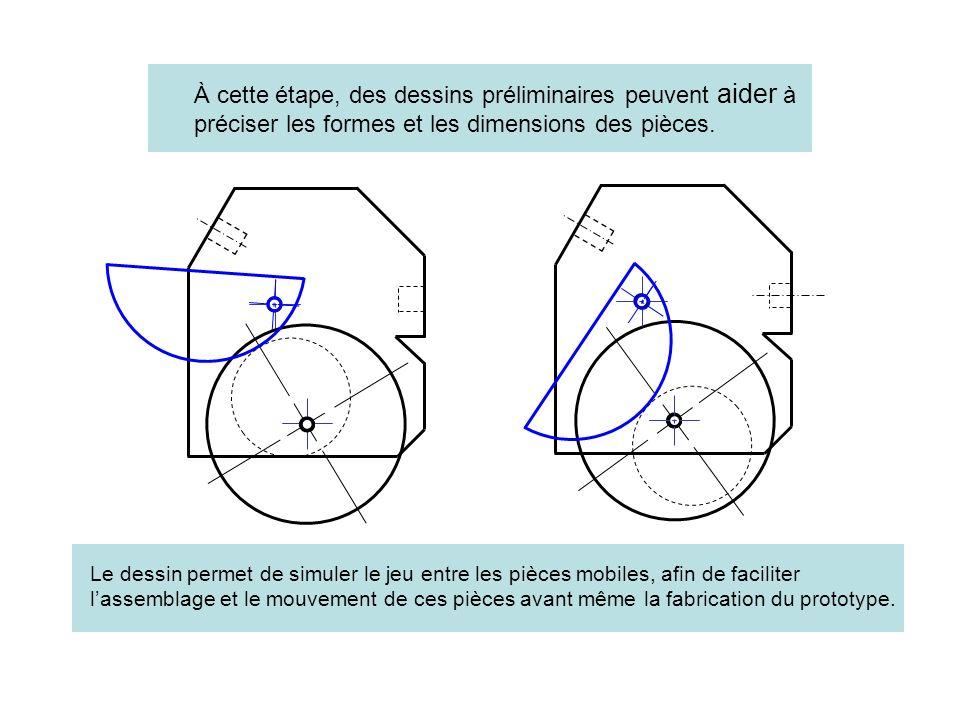 À cette étape, des dessins préliminaires peuvent aider à préciser les formes et les dimensions des pièces. Le dessin permet de simuler le jeu entre le