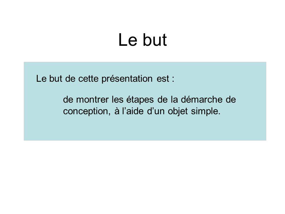Le but Le but de cette présentation est : de montrer les étapes de la démarche de conception, à laide dun objet simple.