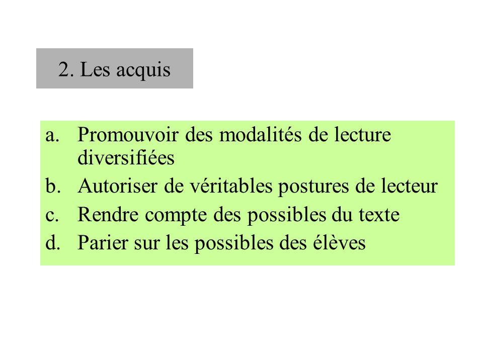 2. Les acquis a.Promouvoir des modalités de lecture diversifiées b.Autoriser de véritables postures de lecteur c.Rendre compte des possibles du texte